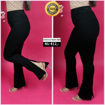 PRE ORDER Perfect Black Flared Pants WIth Zips 33007 WORD UITERLIJK 25-01 VERZONDEN
