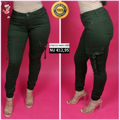 PRE ORDER Green Cargo Ring Detail Stretch Pants 77356-3 WORD UITERLIJK 25-01 VERZONDEN