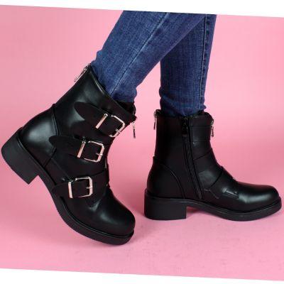 Three Gesps Boots Mid Zip Back Zip A386
