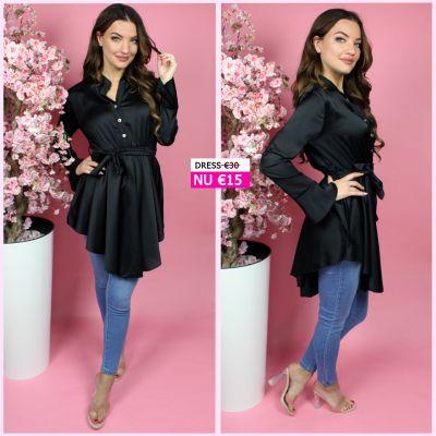 Tie Belt Satin Ruffle Dress Black