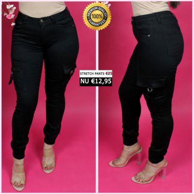 PRE ORDER Black Cargo Ring Detail Stretch Pants 77356-1 WORD UITERLIJK 25-01 VERZONDEN