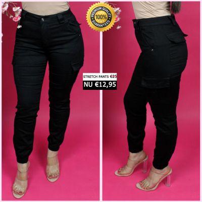 PRE ORDER Black Perfect Cargo Stretch Pants 77357-1 WORD UITERLIJK 25-01 VERZONDEN