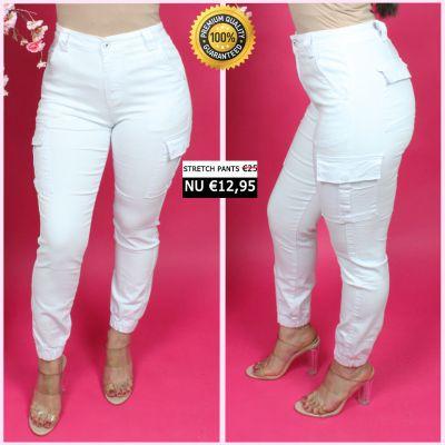 PRE ORDER White Perfect Cargo Stretch Pants 77357-2 WORD UITERLIJK 25-01 VERZONDEN