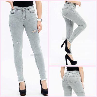 Premium Quality Stretch Ripped Grey Jeans 77686