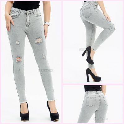 Premium Quality Stretch Ripped Grey Jeans 77698