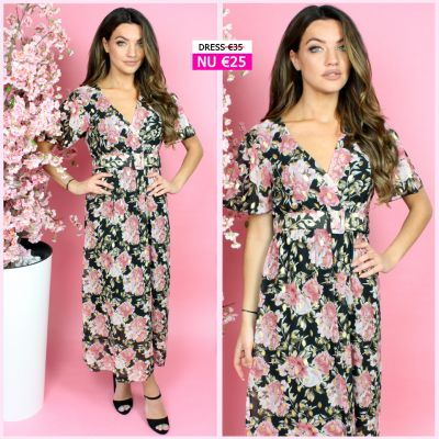 Beautiful Gold Floral Wrap Dress Belt Detail Black Pink