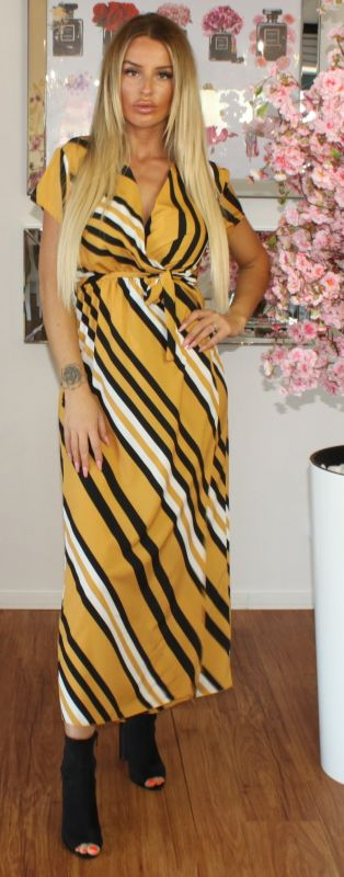 Stripe Wrap Maxi Dress