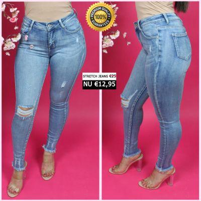 PRE ORDER Premium Quality Stretch Rip Knee Jeans 55009 WORD 25-01 VERZONDEN