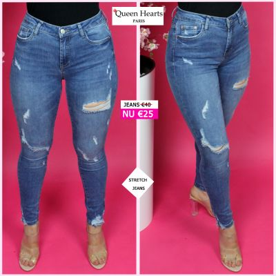 Queen Hearts Superior Quality Blue Skinny Destroyed Jeans 692-4