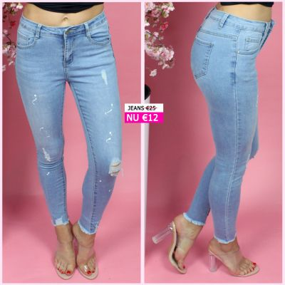Paint Detail Distressed Skinny Jeans 88011