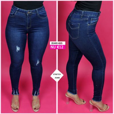 Stretch Jeans Ankle Frays 95011