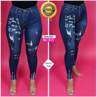 PRE ORDER Premium Quality Phrases Scratches Stretch Jeans 95028 WORD UITERLIJK 20-10 VERZONDEN