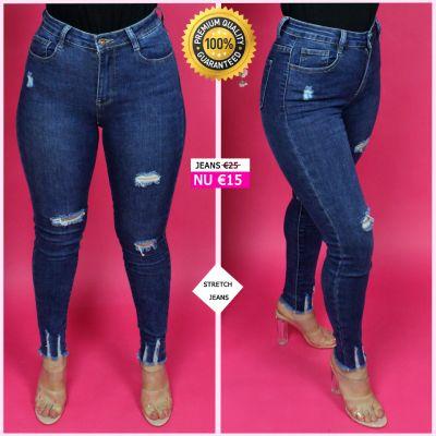 PRE ORDER Premium Quality Ripped Ankle Stretch Jeans 95048 WORD UITERLIJK 20-10 VERZONDEN