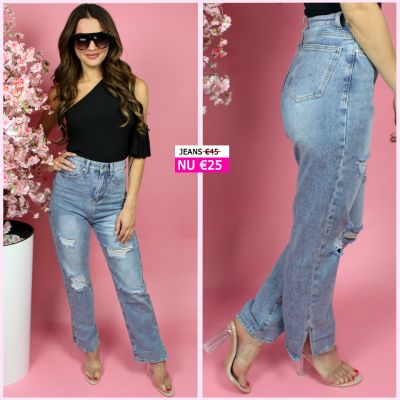 High Waist Distressed Boyfriend Jeans Musthave Side Split A212-1