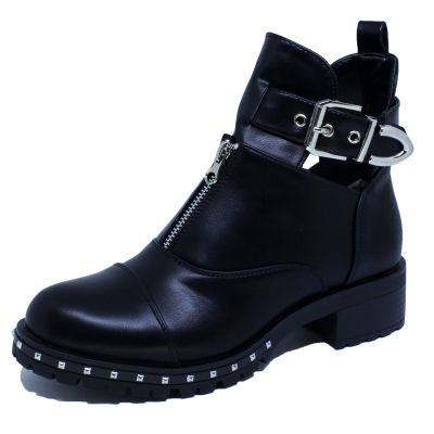 Belted Stud Detail Zip Boot A-236