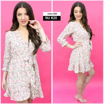 Midi Dress Ruffle Tie Belt Flowers CZ886
