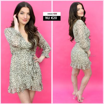 Animal Print Midi Dress Ruffles 883
