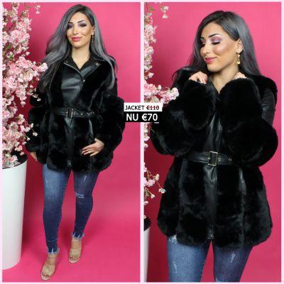 Beautiful Faux Fur Belt Tie Black Leather Jacket JL079