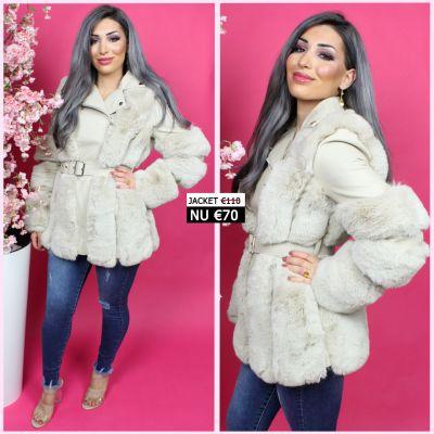 Beautiful Faux Fur Belt Tie Beige Leather Jacket JL079