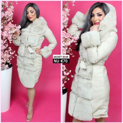 Beige Long Leather Jacket Squared Faux Fur JL080