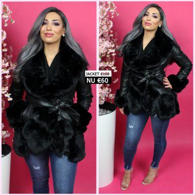 BestSeller Leather Jacket Black Fur Details 202018