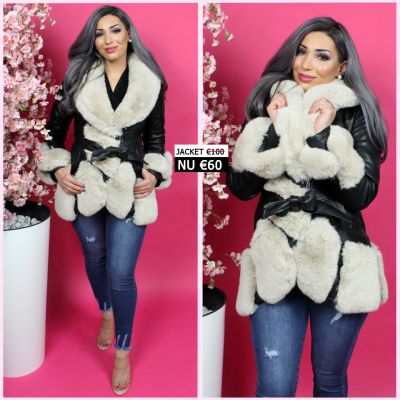 BestSeller Leather Jacket Beige Fur Details 202018