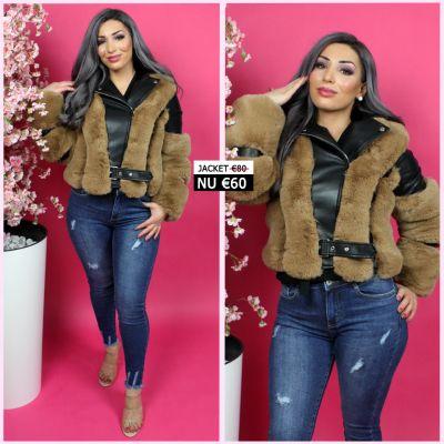 Trendy Leather Jacket Brown Fur Detail 202008