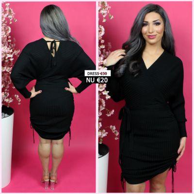 Musthave Rib Dress V Neck Tie Belt 08450 Black