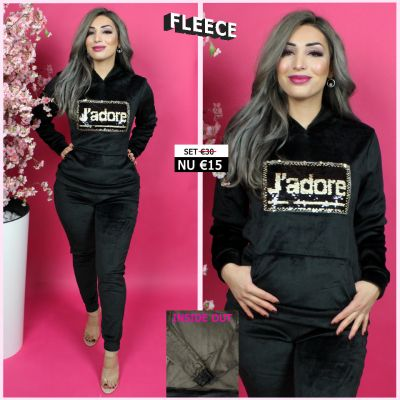 Fleece Joggingset Jadore Sequin Black Gold 131