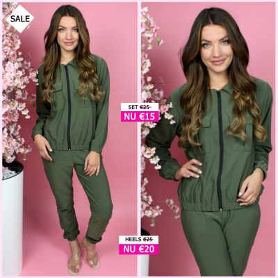 Two Piece Set Zip And Pockets Detail 714 Armygroen