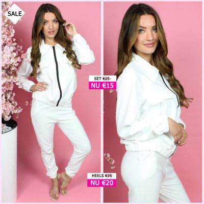 Two Piece Set Zip And Pockets Detail 714  Wit
