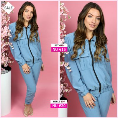 Two Piece Set Zip And Pockets Detail 714 Blauw