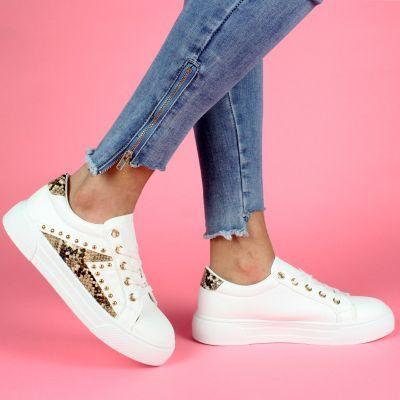White Sneaker Gold Studs & Snakeskin Detail LL1776