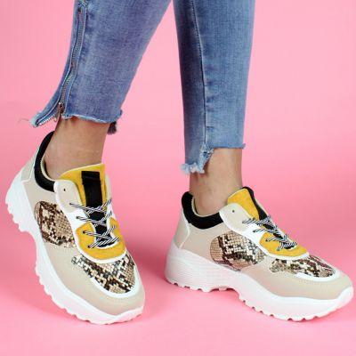 Beige Snakeskin Detail Chunky Sneaker LL1752