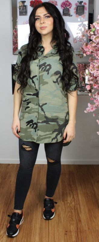 Camo Button Through Shirt Dress