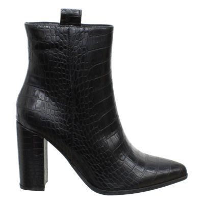 Black Croc Betty Heels A225C