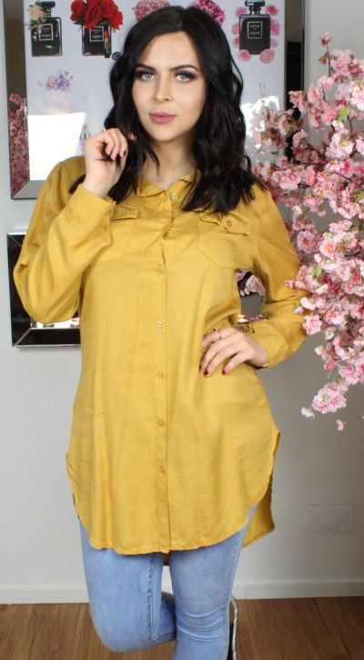 Button Through Pocket Front Shirt Dress