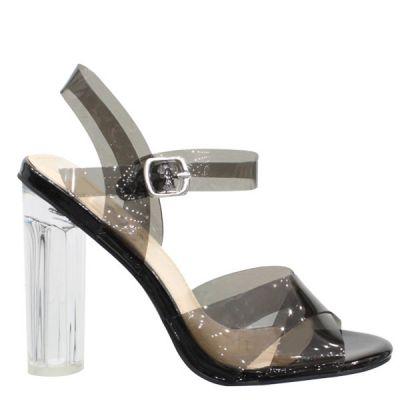 Black Transparant Glass Heel LL6529