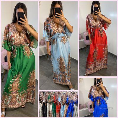 PRE ORDER Pattern Dubai Maxi Dress Waist Detail WORD 02-08 VERZONDEN