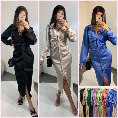 Blouse Dress Satin Wrapped Musthave