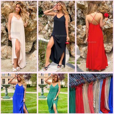 Strap Dress Splits Maxi Oversized