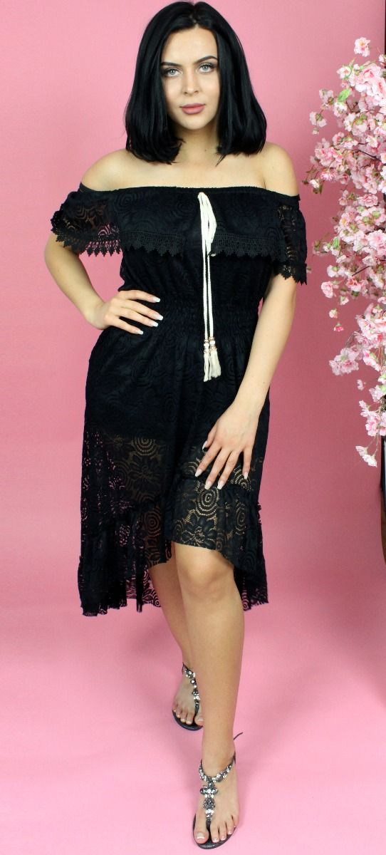 Lace Off Shoulder Midaxi Dress