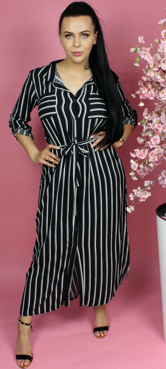 Striped Tie Belt Button Through Maxi Dress