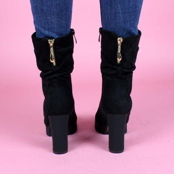 Suedine Boots Gold Plated Heel K9923