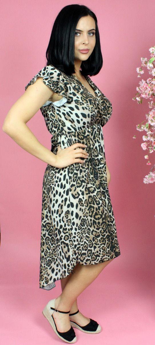 Leopard Wrap Midi Dress Ruffle Sleeve Detail