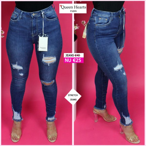 Queen Hearts Superior Quality Blue Skinny Destroyed Jeans 814