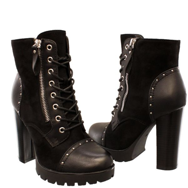 Suede Lace High Heels Zip Detail 88198