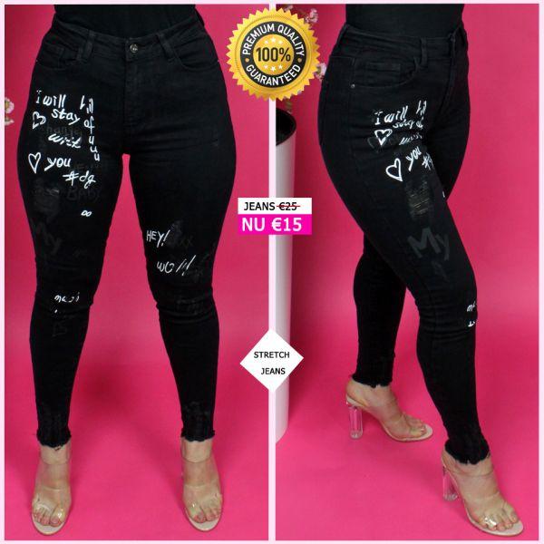Premium Quality Phrases Scratches Stretch Black Jeans 95029