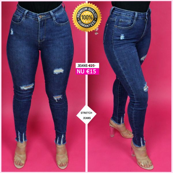 Premium Quality Ripped Ankle Stretch Jeans 95048