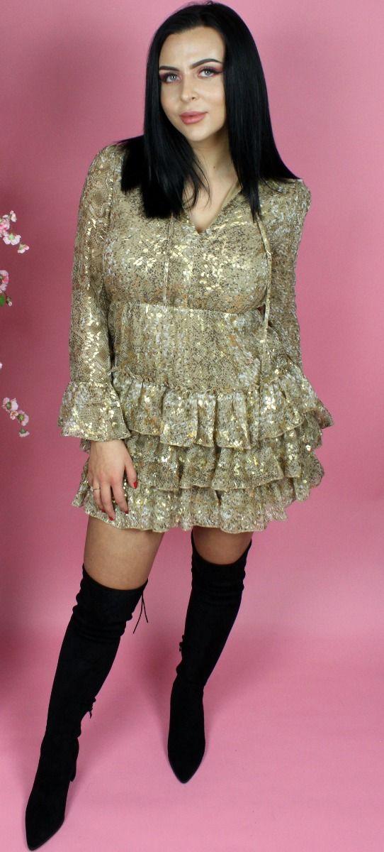 In Gold Ruffle Skater Dress